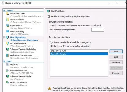 Enable incoming and outgoing live migrations
