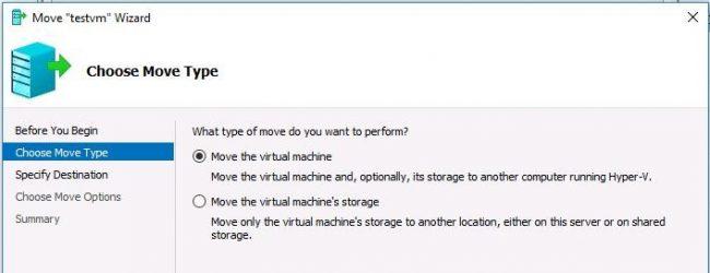 Move the virtual machine wizard