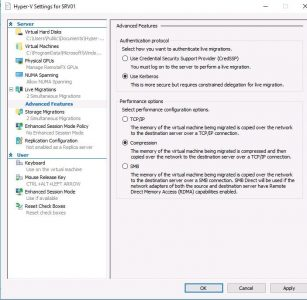 Use Kerberos as the authentication protocol for live vm migration