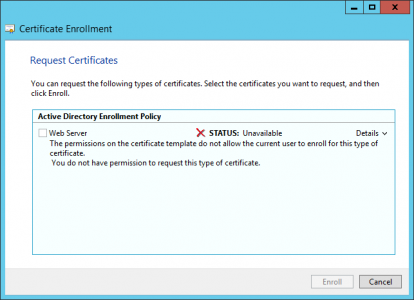 Certificate Renew You do not have permission to request this type of Certificate